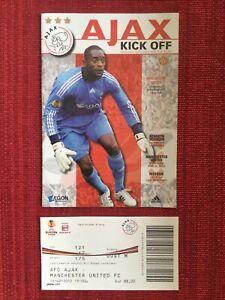 Ajax v Manchester Utd Europa League Programme + Ticket 16/2/2012