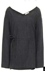 American Vintage 12 Grey V neck Wool Blend Loose Oversized Belted Blouse Top