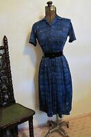 VINTAGE 1950'S SHELTON STROLLER NOVELTY ATOMIC PRINT DAY DRESS S
