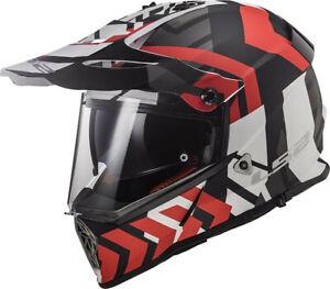 CASCO HELMET CROSS MX436 PIONEER XTREME MATT BLACK RED LS2 SIZE XS