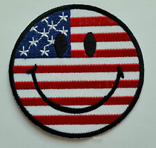 NOVELTY SMILEY FACE SEW ON / IRON ON PATCH:- U.S.A AMERICAN STARS & STRIPES FLAG