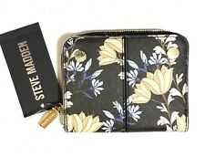 STEVE MADDEN Women's French Wallet Faux Leather Black Yellow Gold Floral