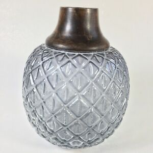 Modern Dusky Blue Pressed Glass Vase Teak Wood Rim Accent Waffle Pattern Design