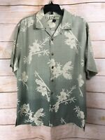 Tommy Bahama Men's 100% Silk Shirt Button Up Hawaiian Size Medium Short Sleeve