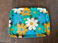 Vintage Retro Blue Green Gold Floral Pattern Plastic Serving Tray