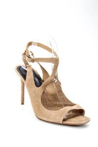 Alexander Wang Womens Leather Peep Toe High Heel Sandals Tan Brown Size 40 ITA
