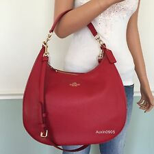 NEW! COACH Gorgeous Pebbled Leather Hobo Shoulder Bag Crossbody Purse True Red