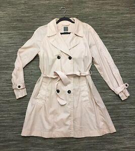 Gap Women's Light Cotton Trench Coat Pinkish Ivory Beige Size L Mint Condition