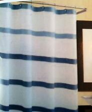 Excell Fabric Shower Curtain 100% Cotton White Waffle With Bands Of Denim Blue