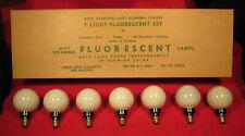1940s Sylvania C-7 Fluorescent Christmas Tree Light Bulbs (7) in Original Box