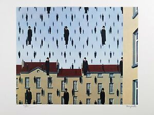 René Magritte - Golconda (signed & numbered lithograph)