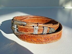 Vintage Texas Ranger Tooled leather belt with Sterling Silver Buckle Gold A.L.C