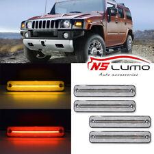 4Pcs Front & Rear LED Side Marker Lights For Hummer H2 2003-2009 Clear Red Amber