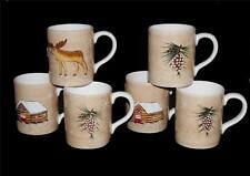 6 Embossed Moose Cabin Pine Cones Handpainted Large Mugs by Home 3 Designs NWOT