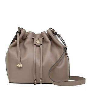 RADLEY BEIGE LEATHER HANDBAG SHOULDER CROSS BODY DRAWSTRING BAG RRP £179 NEW!!!