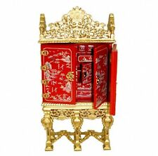 Bespaq Gilded Grand Estate Red Asian Gibbons Cabinet Golden Dollhouse Miniatures
