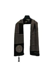 NEW VERSACE Brown & Beige Unisex Logo Greek Key Medusa Soft Wool Scarf NWT