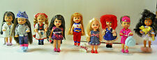 Rare, retired lot of 9 Barbie Kelly Dolls, Fun themes w/ doll stands, Mattel