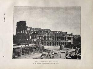 Stampa antica - Roma Anfiteatro Flavio o Colosseo - 1902 da una foto Alinari