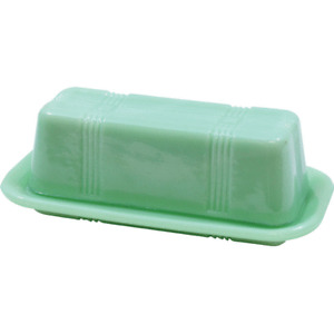 TableCraft Jadeite Green Glass Butter Dish