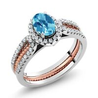 1.57 Ct Swiss Blue Topaz 925 Two-Tone Sterling Silver Wedding Band Insert Ring