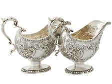 Antique George III Sterling Silver Sauceboats Regency Style 1765