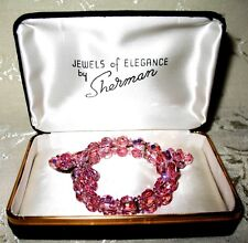 Sherman Jewels of Elegance in Pinks Unsigned Bracelet & Signed Matching Earrings