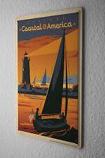 Tin Sign Holiday Travel Agency America coastal sailboat lighthouse