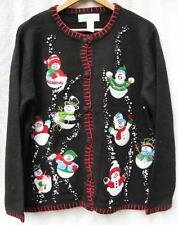 Dancing Snowmen Winter/Holiday Cardigan Sweater NWOT 1X
