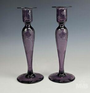 Pr Mystery Maker Art Deco Acid Etched Grape Leaf Amethyst Glass Candleholder MAB