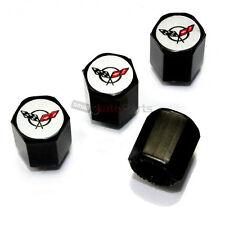 (4) Chevy Corvette C5 Logo Black ABS Tire/Wheel Pressure Stem Valve CAPS Covers