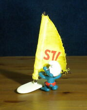 Smurfs 40215 Windsurfer Super Smurf Surf Board Sail Vintage Figure Toy PVC Peyo
