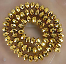 100 PCS , 4 X 6 mm Faceted Golden Crystal Gemstone Abacus Loose Beads