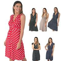 Womens Polka Dot Retro Dress Pleated Skirt Wrap Mini V Neck Top Swing Party