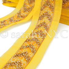 Yellow Gold Beaded Fabric Trim trimming,Embellishment,co stume,pageant,Art