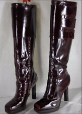 LANVIN PARIS SKYHIGH HEEL CHERRY GLOSSY LEATHER KNEE HIGH BOOTS EU 38 US 7.5