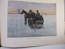 russie: Gravure 19° in folio couleur /La Droyka (traineau)
