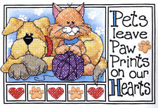 Stamped Cross Stitch Mini Kit ~ Dimensions Cat & Dog Pet Paw Prints #6931