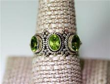 Triple Peridot Gemstone Sterling Silver Band Ring Size 10 – 8129