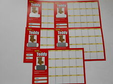 NAME THE TEDDY SCRATCH CARDS - 20 SPACES - COLOURED - SET OF 5 - RAISE £50 EASY