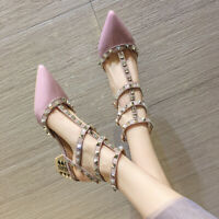 Med Block Heel Womens Strappy Pointed Toe Rivets Roman Shoes Pumps Sandals Hot