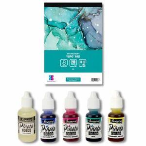 6pc Alcohol Ink Art Starter Set   Beginner Fluid Dye Kit   Inks Yupo Paper