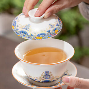 China gaiwan porcelain tureen Chinese cup bowl with saucer lid under glaze new