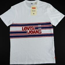 NWT LEVIS JEANS short sleeve graphic t shirt mens S spell-out stripe red wht blu