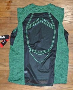 Fila Sport Performance Fitted Muscle Tank Provent Mesh Panels Green Twisted