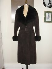 VINTAGE 70s EVANS*BOHO HIPPIE BROWN FUR SHEARLING SUEDE BELT PENNY LANE COAT*M/L