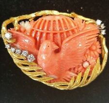 14k Gold and Coral Pin with Diamonds