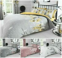 Luxuries FEATHER Printed Reversable Duvet Cover+Pillow Case Bedding Set All Size