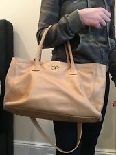 Authentic Chanel Cerf Tote - Tan With Gold Hardware - Shoulder Strap Included