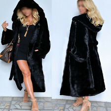 2017 Women Faux Fur Coat Casual Hood Parka Winter Long Trench Jacket Outwear